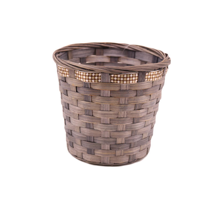 gift hamper baskets bamboo coffee print ribbon dry flower plant  storage basket