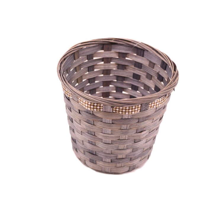 gift hamper baskets bamboo coffee print ribbon dry flower plant  storage basket