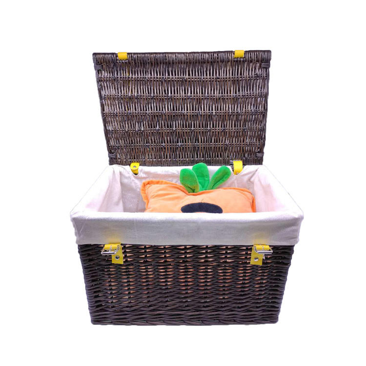 picnic wicker basket storage boxes with lid