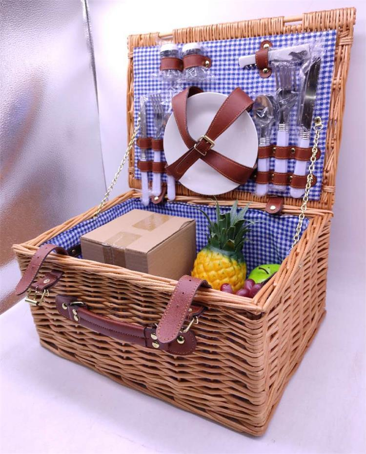 picnic basket wicker set with dishware for 4 person