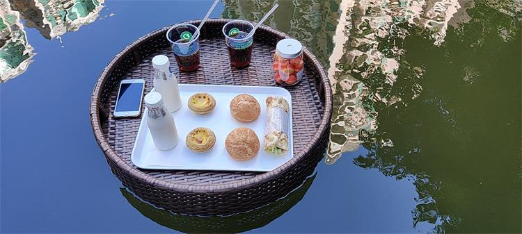 floating tray for pool swimming drink food rattan serving tray