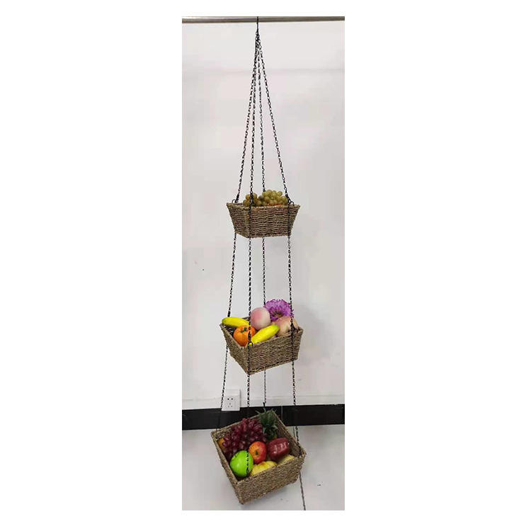 native seagrass basket hang 3 tier plant pot