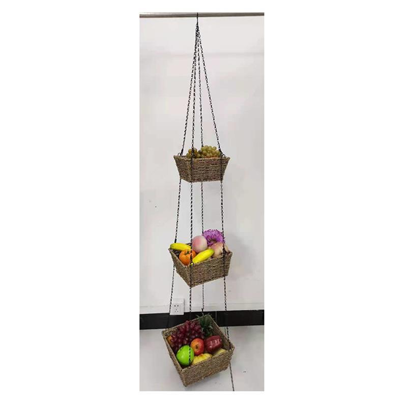 native seagrass basket hang 3 tier plant pot