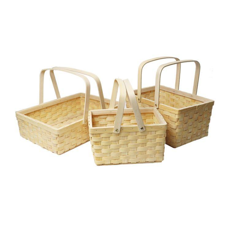 wooden baskets with handles wood chip food fruit storage basket