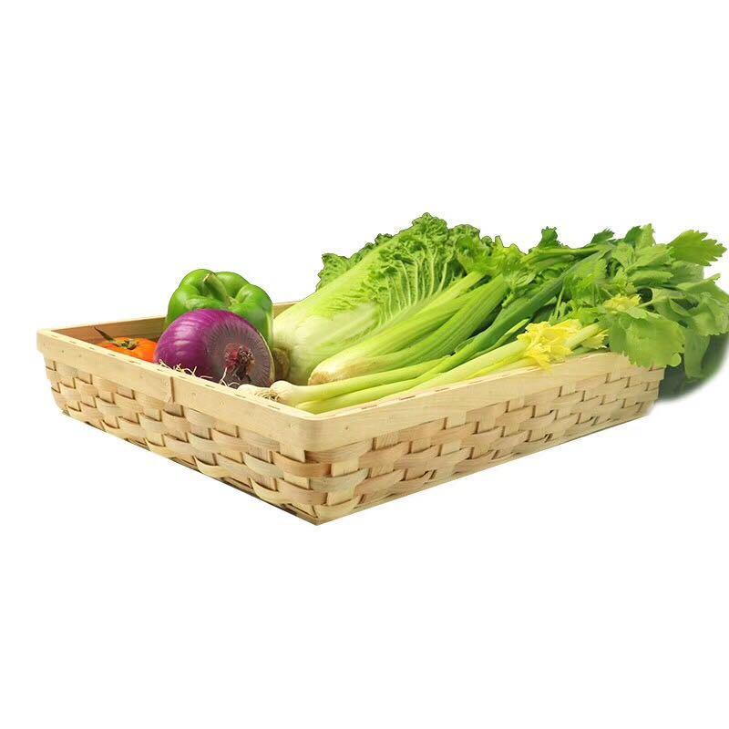 wooden baskets with handles wood chip fruit storage basket