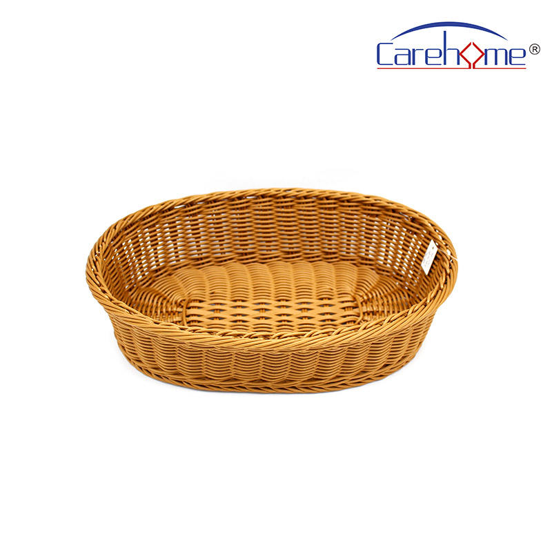 B0-1022  Factory wholesale washable plastic rattan oval bread basket for bakery or home storage