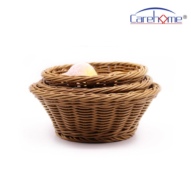 BR-2038 CAREHOME washable plastic circular rattan basket for bread basket