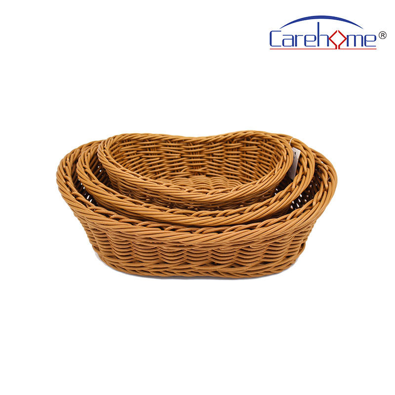 BT-4003 Hand weaved graceful GN plastic Rattan bread basket for hotel