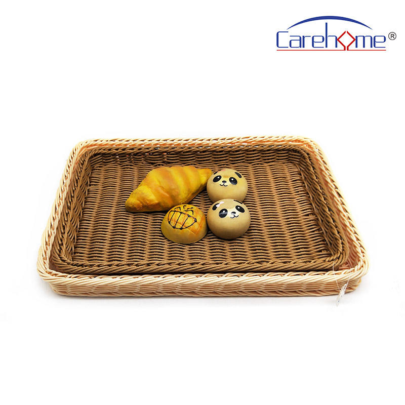 BL-1021B factory wholesale hand weaved poly rattan basket for bakery