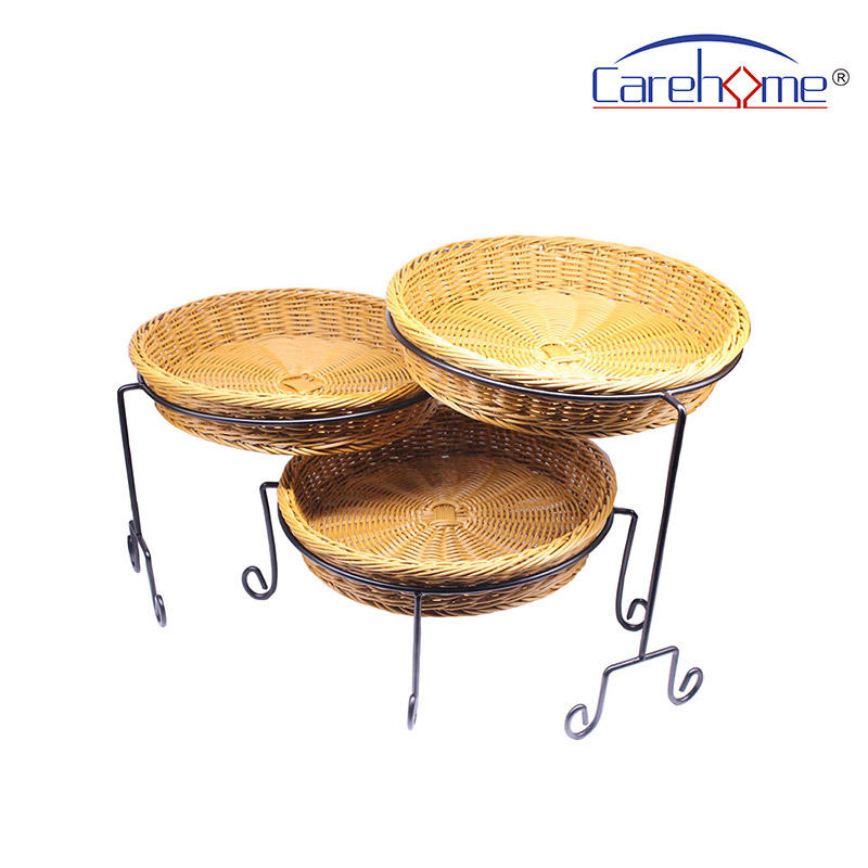 TRM-1042 wholesale Washable plastic circular rattan basket