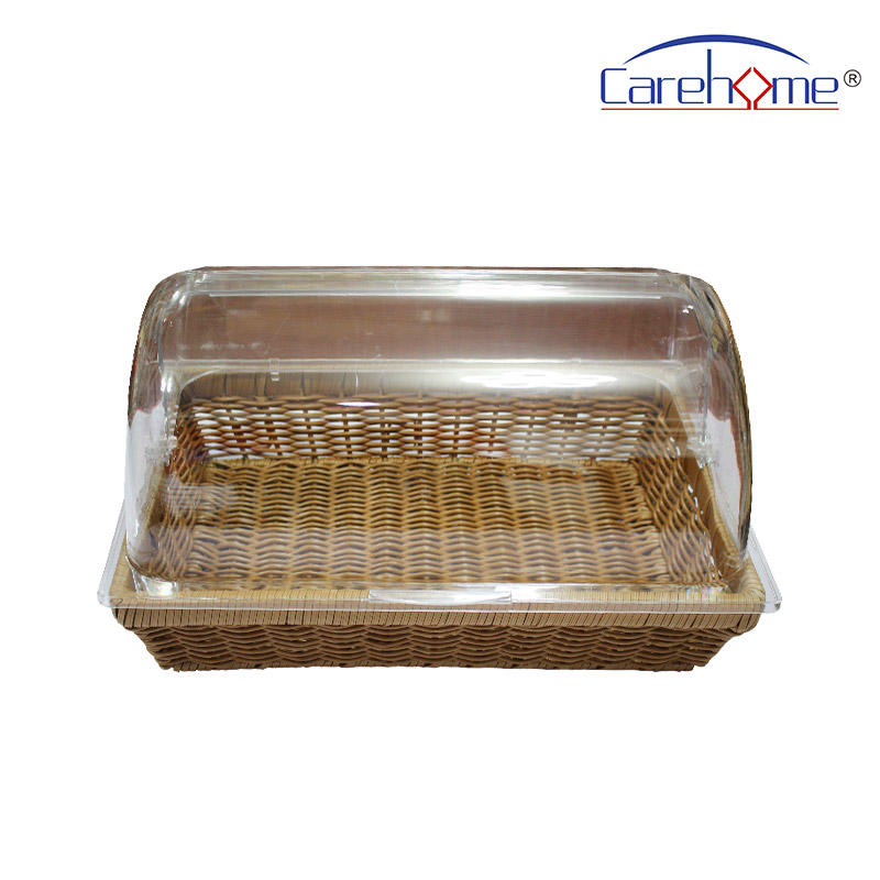 TZ-1012  Hand weaved graceful GN plastic Rattan bread basket for hotel