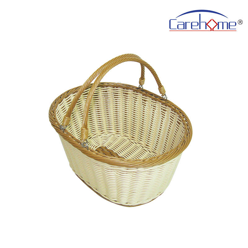 BOt-1004  Graceful hand weaved oval plastic rattan handle basket, Storage basket