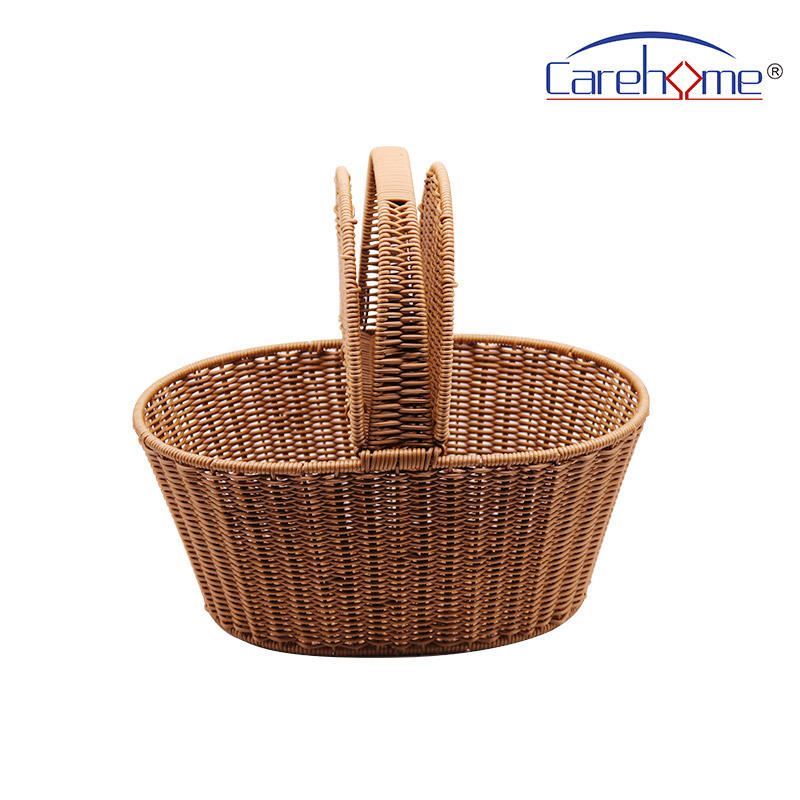 BOt-1021 Hand weaved graceful GN plastic Rattan bread basket for picnic