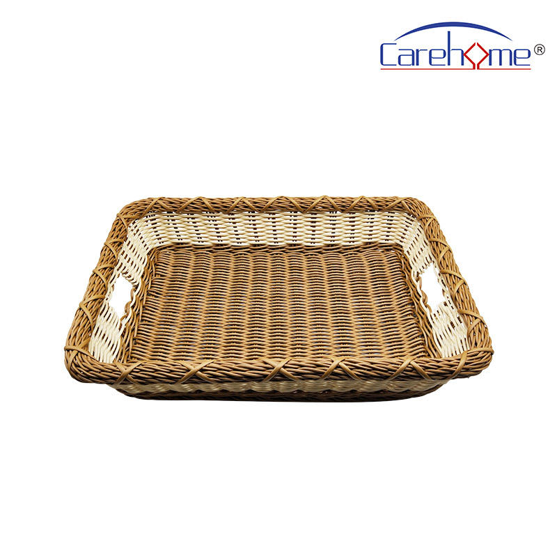 BL-1055 CAREHOME hand weaved washable plastic rattan laundry towel basket for hotel