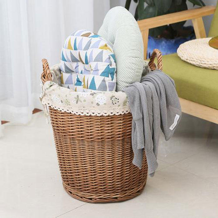 Storage rattan bucket with cloth for home or hotel
