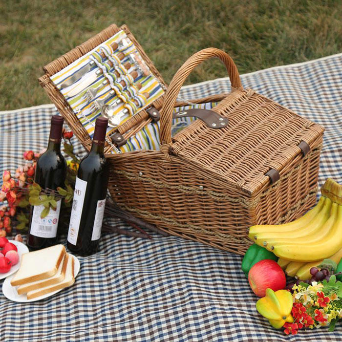 Handle pp rattan basket with lid for picnic party