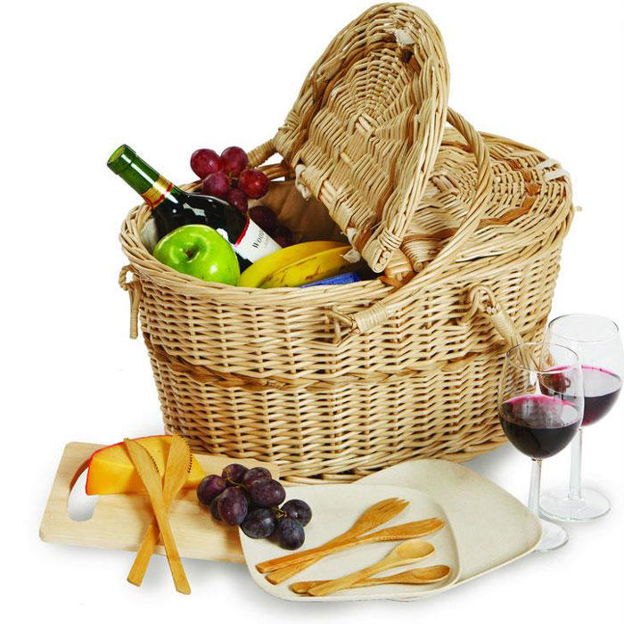 PP rattan picnic basket with handle for family days