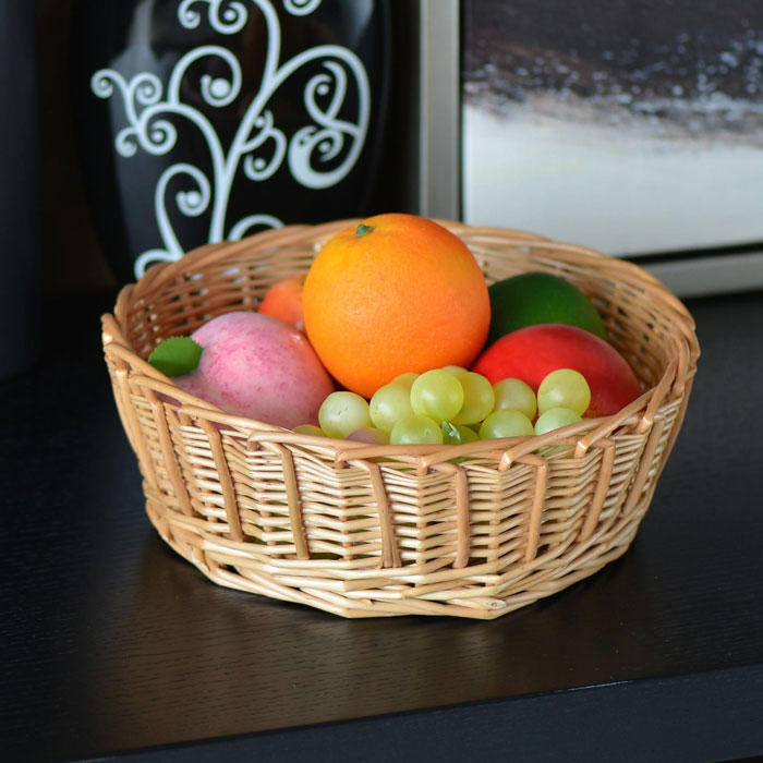 Hollow rattan basket for fruit and snacks in home and hotel