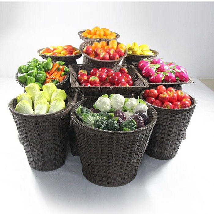 Supermarket displaying basket for fruit and vegetable