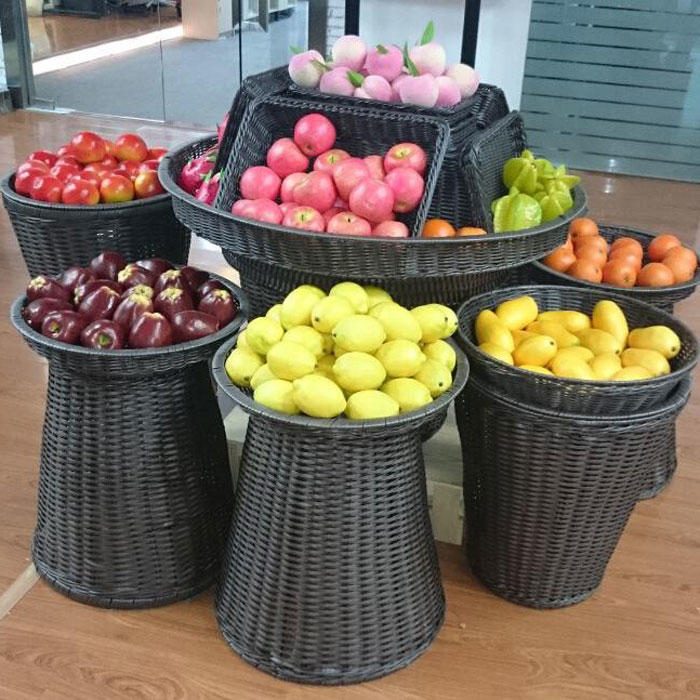 Rattan supermarket basket  with lid for any size