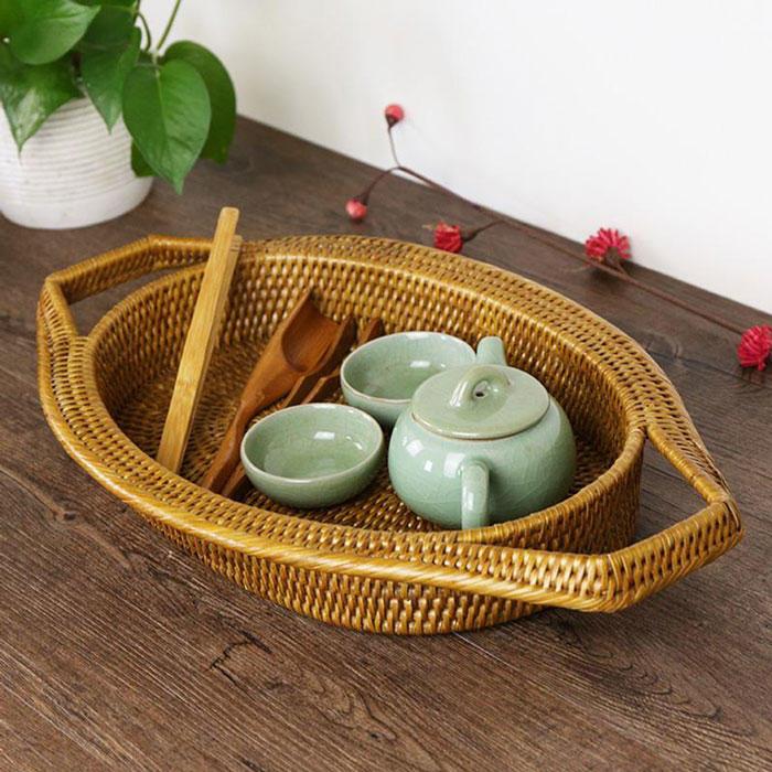 Hand craft pp rattan basket for tea set