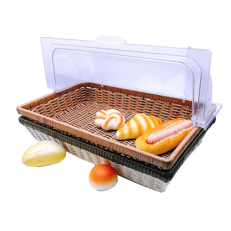 Hand made pp wicker rattan basket melamine plates bakery tray