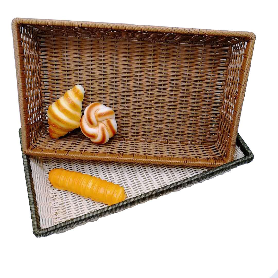 Hand made pp wicker rattan basket melamine plates bakery tray