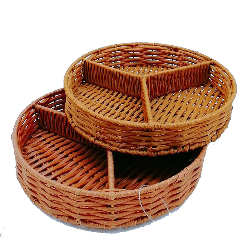 Handicraft round divided rattan cutlery basket for catering