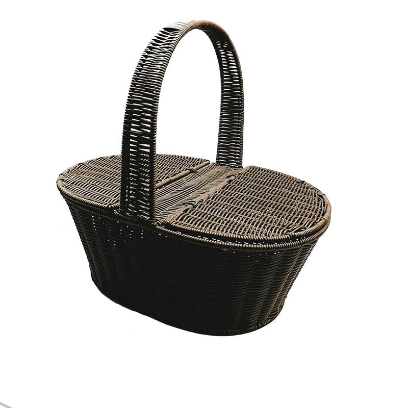 TOt-1023 CAREHOME hand made black pp rattan basket for picnic party