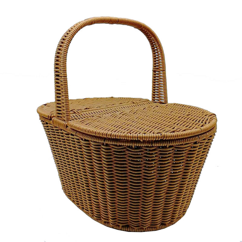 TOt-1021  Oval handicraft picnic bread basket with lid and handle