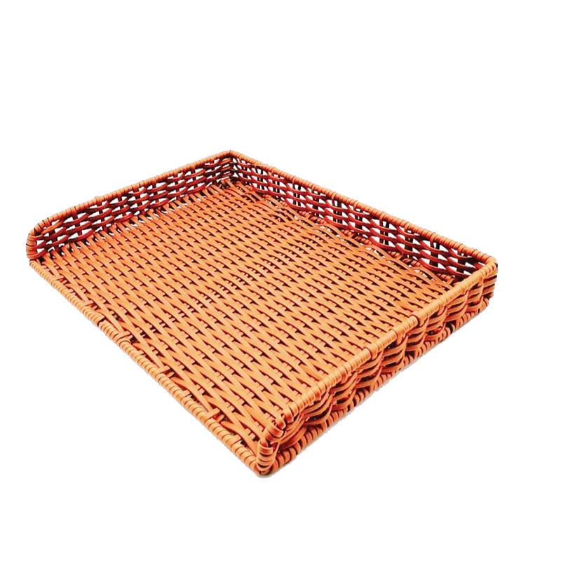 BM-0111 hand weaving flat pp rattan basket for  bakery