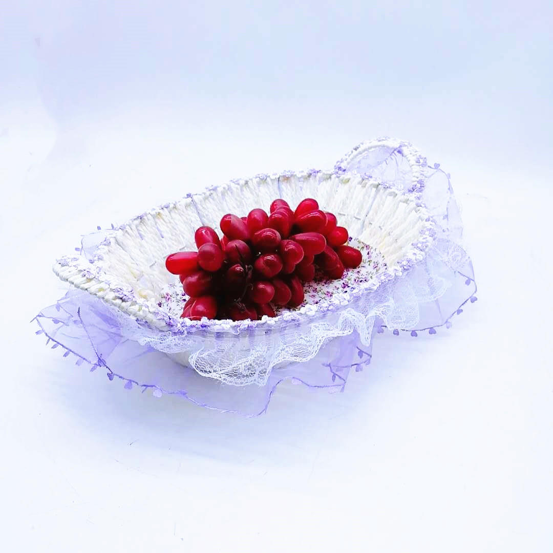 WP-0012 hand made lace wedding basket with cotton, cailco basket