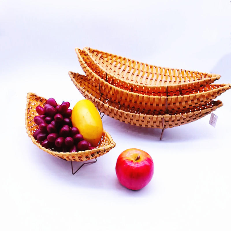 BB-0312 hand weaving flat pp rattan fruit basket