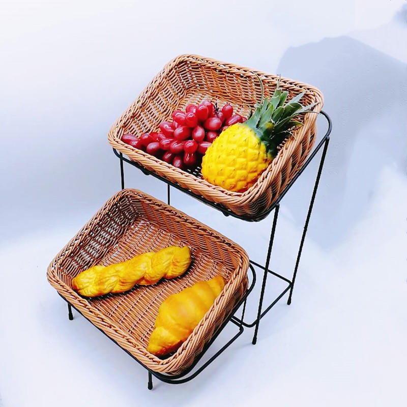 Supermarket Buffet Display 2 Tier Plastic Rattan Basket With Coated Metal Stand