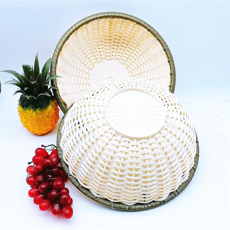 New design multifunction fruit decorative basket PP imitation rattan storage baskets