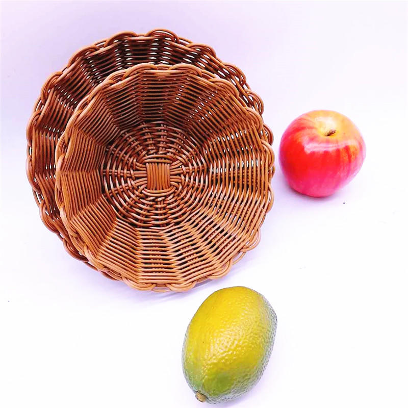 Round flower shape poly rattan basket & pp rattan bowl