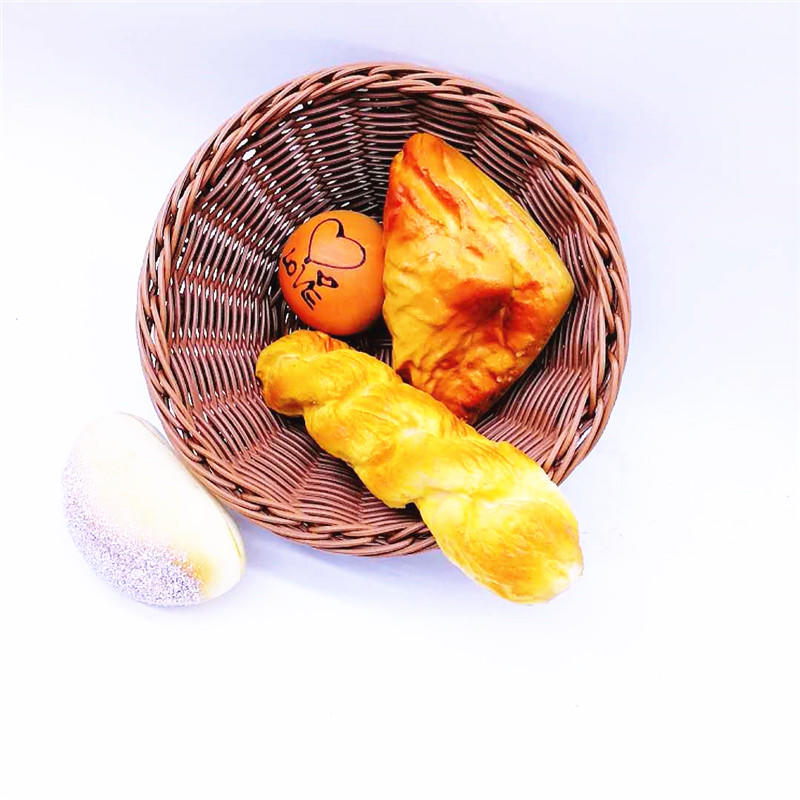 Round Plastic Rattan Basket / Bread Display Basket / PP Wire Food Grade Bread Basket