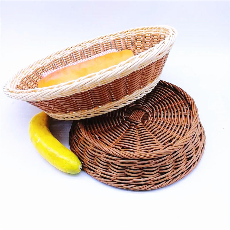 Hot selling handicraft round pp wicker bread basket for bakery