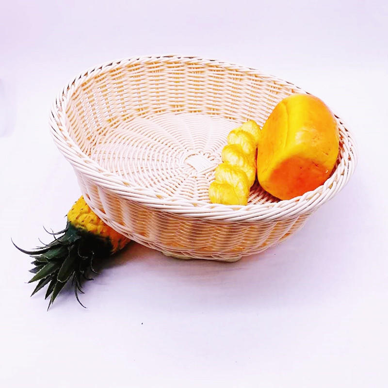 Big round hand weaving pp wicker basket for fruit and bread
