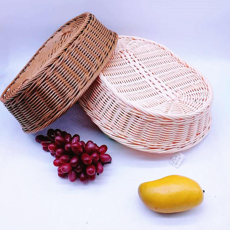 Durable & washable hand weaving oval poly basket for bread and fruit