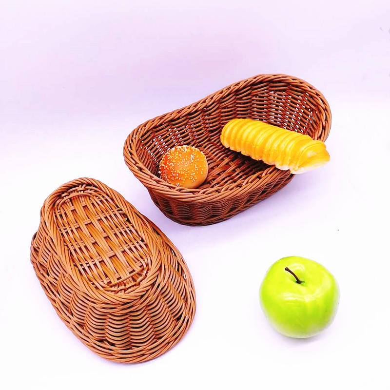 Washable dumpling shape hand woven poly wicker basket for food storage