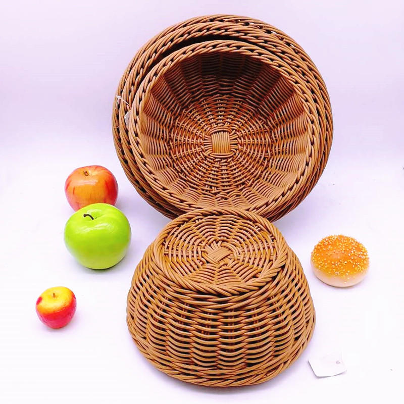 More size round pp rattan bowl shape basket for vegetables and bread