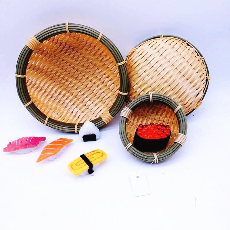 Multi-functional handicraft plastic bamboo tray bread & fruit basket bowl