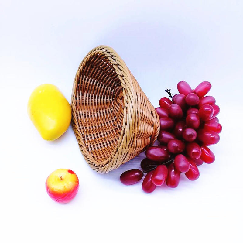PP Woven Food Rattan Basket Display Oval Poly wicker Basket