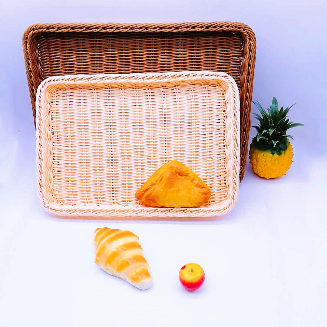 Classical rectangular hand weave pp rattan basket bread tray for bakery