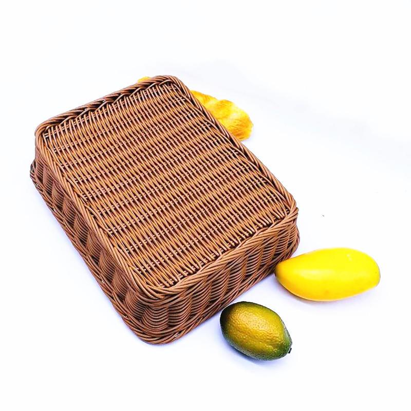 Eco-friendly supermarket woven wicker storage basket pp rattan food tray