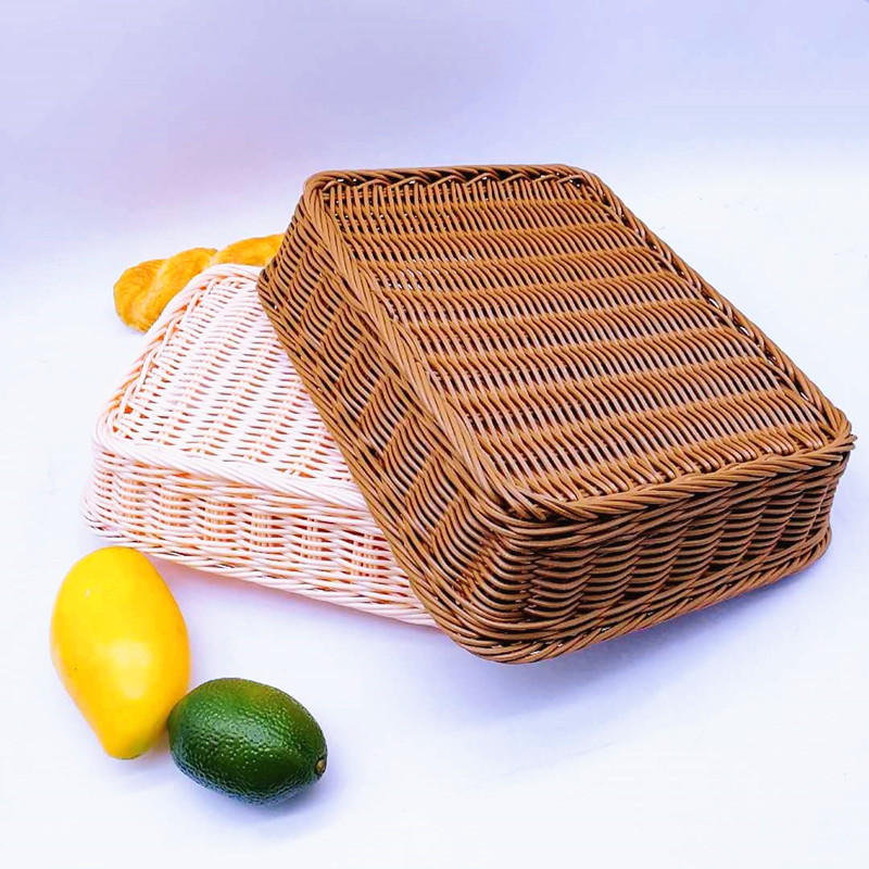 Eco-friendly supermarket woven wicker storage basket pp rattan food tray