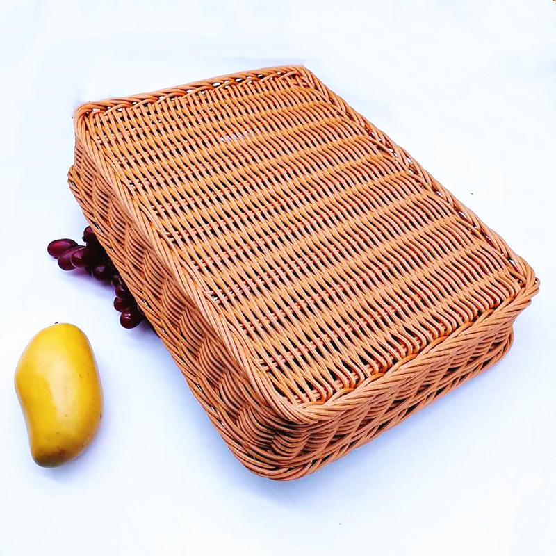 Chinese hand made plastic rattan supermarket food storage baskets