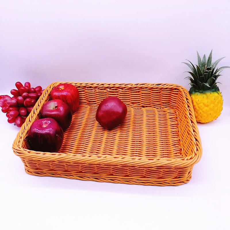 Chinese hand made plastic rattan supermarket food storage baskets