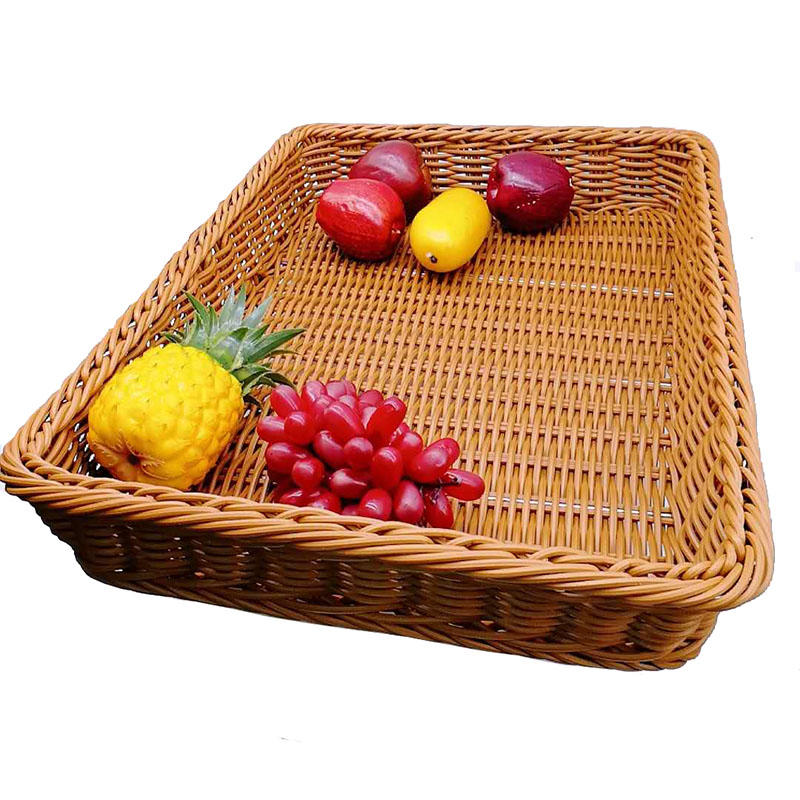 Manufacture Wholesale High quality rectangle pp wicker basket tray